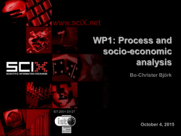 WP 1 - SciX Project Home