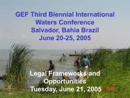 GEF Third Biennial International Waters Conference