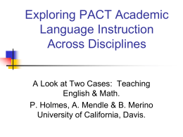 Exploring PACT Academic Language Instruction Across