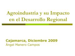 Agroindustria y su impacto en el Desarrollo Regional