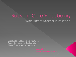 Boosting Core Vocabulary