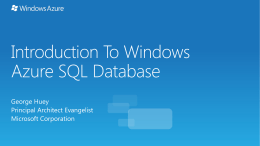 Introduction To Windows Azure SQL Database