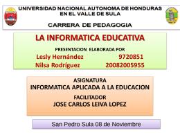 LA INFORMATICA EDUCATIVA PRESENTACION …