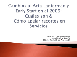 2009 Changes to the Lanterman Act: What They Are & …