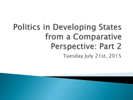Politics in Developing States from a Comparative
