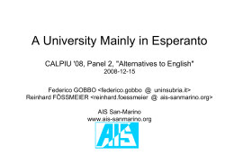 A University Mainly in Esperanto CALPIU '08, Panel 2