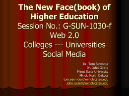 Colleges, Universities and Social Media