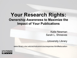 Your Research Rights: Ownership Awareness to Maximize …