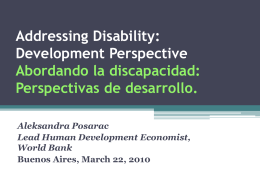 Addressing Disability: Development Perspective
