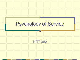 Psychology of Service - California State Polytechnic