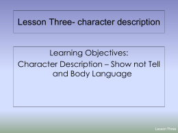 Lesson Four- character description