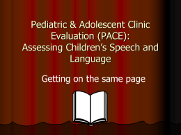 SOP: Assessing Children's Speech and Language