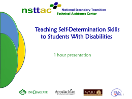 Teaching Self-Determination Skills to Students With