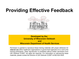 Providing Effective Feedback - University of Wisconsin