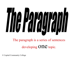 The Paragraph (PowerPoint Presentation)
