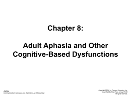 Chapter 8: Adult Aphasia and Other Cognitive