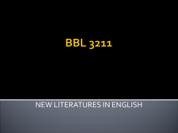 NEW LITERATURES IN ENGLISH - Universiti Putra Malaysia