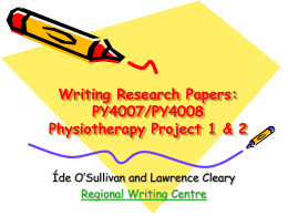 Writing for Publication: OT6026 Occupational Therapy …