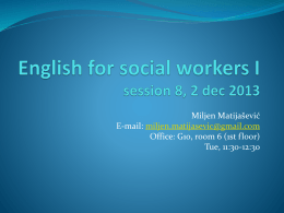 English for social workers I session 1, 5 oct 2009