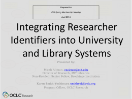 Integrating Researcher Identifiers into University and