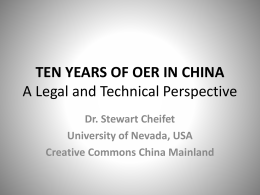 TEN YEARS OF OER IN CHINA A Legal and Technical …