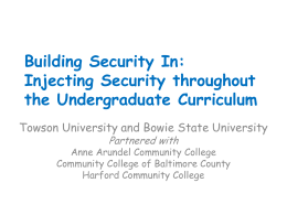 Building Security In: Workshop – August 2009