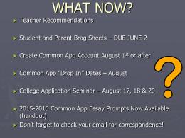 Junior Resume Seminar 2015 - West Morris Regional High