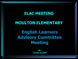 ELAC MEETING MOULTON ELEMENTARY