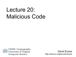 Public-Key Protocols - University of Virginia