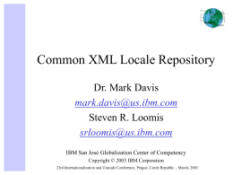 PowerPoint Presentation - Common XML Locale Repository