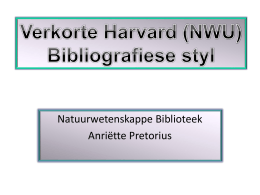 Verkorte Harvard (NWU) Bibliografiese styl