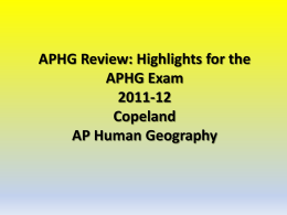 APHG Review 2010-11 Copeland AP Human Geography