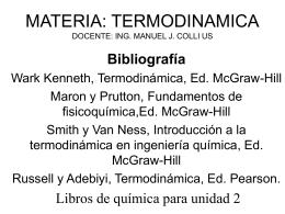 MATERIA: TERMODINAMICA DOCENTE: ING. MANUEL J. …