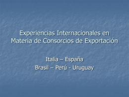 Experiencias Internacionales en Materia de Consorcios de