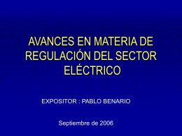 AVANCES EN MATERIA DE REGULACION DEL SECTOR …