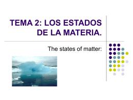 TEMA 2: LOS ESTADOS DE LA MATERIA.