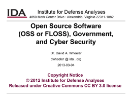 DoD and Open Source Software (OSS)