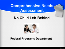 Comprehensive Needs Assessment