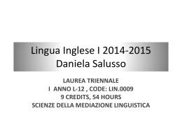 Lingua Inglese I 2014-2015 Daniela Salusso