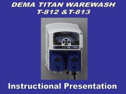 DEMA TITAN WAREWASH CONTROL T-812 & T-813