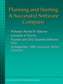 Planning and Starting A Successful Software Company
