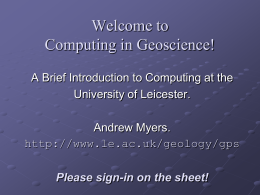 Introduction to CFS - University of Leicester