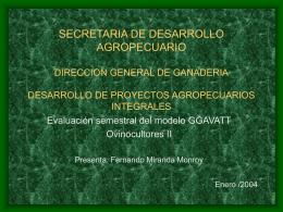 SECRETARIA DE DESARROLLO AGROPECUARIO …