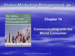 GLOBAL POLICY AND PRICING DECISIONS II: MARKETING …