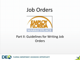 Job Orders - Florida Department of Economic Opportunity
