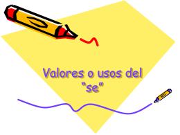 """Valores o usos del """"se"""""""