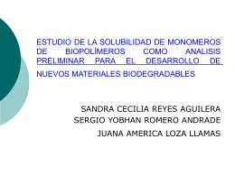 ESTUDIO DE LA SOLUBILIDAD DE MONOMEROS DE …