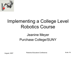 Implementing a College Level Robotics Course