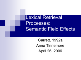 Lexical Retrieval Processes: Semantic Field Effects