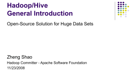 Hadoop / Hive General Introduction - Bar